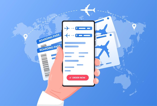 Boarding pass mobile add for online checkin and airplanes flying around in cloud