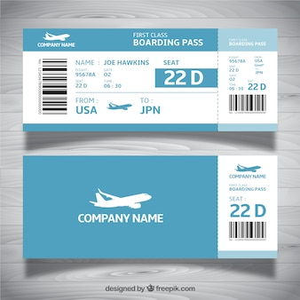 Boarding pass template in blue tones
