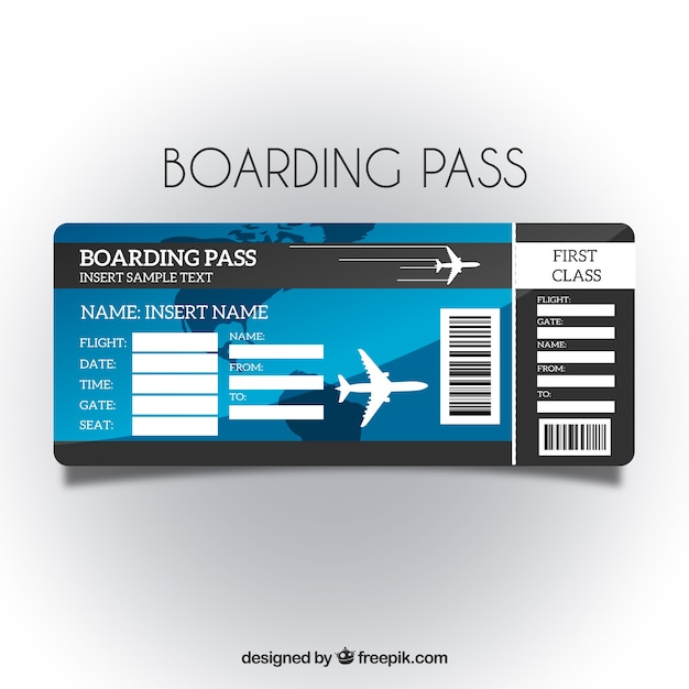 Boarding pass template with blue background