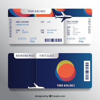 Boarding pass template with colorful circular shapes