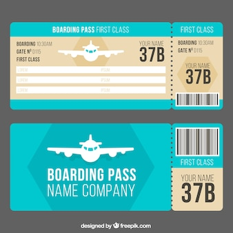 Boarding pass template with decorative airplane