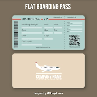 평면 디자인의 qr 코드로 탑승권 템플릿