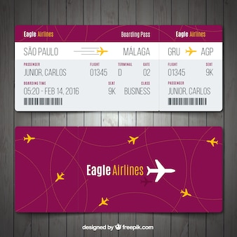 Boarding pass template with yellow details