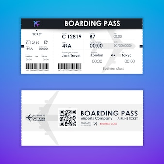 Boarding pass ticket card element template for graphics design.