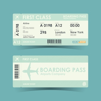 Boarding pass tickets green design.