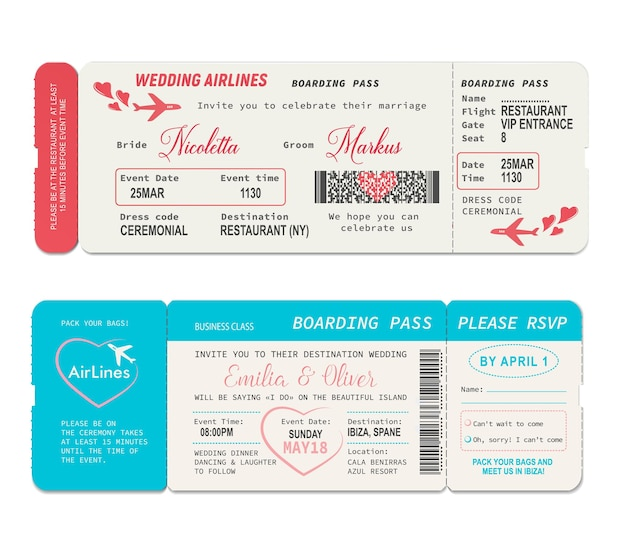 Билеты на посадочный талон, векторный шаблон свадебного приглашения. свадебный билет на рейс авиакомпании, купон на авиаперелет или паспорт, свадебная церемония или свадебный отпуск, дизайн приглашения с сердечками Premium векторы