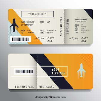 Boarding pass with dark blue and orange details