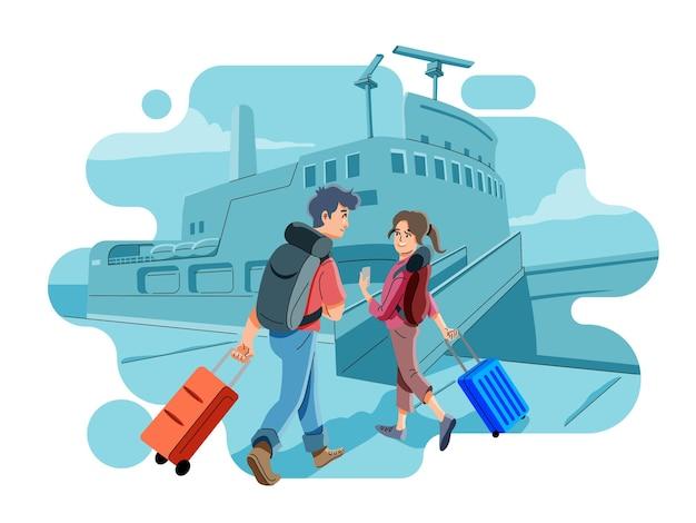 Посадка на пассажирское судно в гавани. паром прибывает на причал или причал. путешествие в отпуск