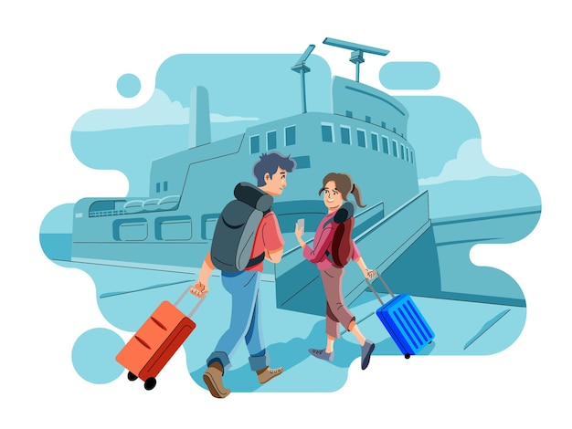 Boarding passenger ship at harbour. ferry arriving at pier or dock. travelling for holidays