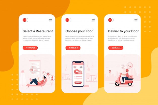 On boarding screens for food delivery service app