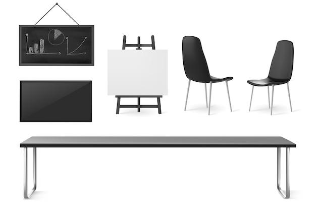 Mobili e cose della sala riunioni, sala conferenze per riunioni di lavoro, formazione e presentazione, tavolo interno dell'ufficio aziendale, sedie, schermo e lavagna isolati su sfondo bianco, set 3d