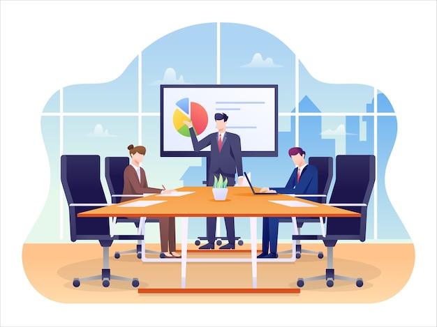 会議室のイラスト、オフィスで会議を行う取締役会。