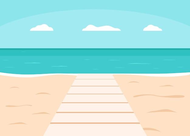 休暇のための海とビーチの遊歩道または歩道夏の屋外デッキ桟橋水への木製の小道