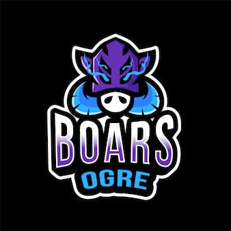 Шаблон логотипа boars ogre esport