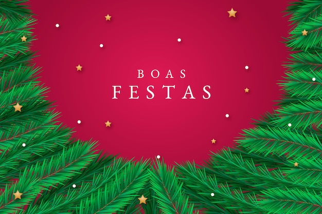 Boas festas with tree branches