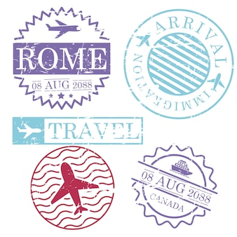 Boat and airplane travel stamps
