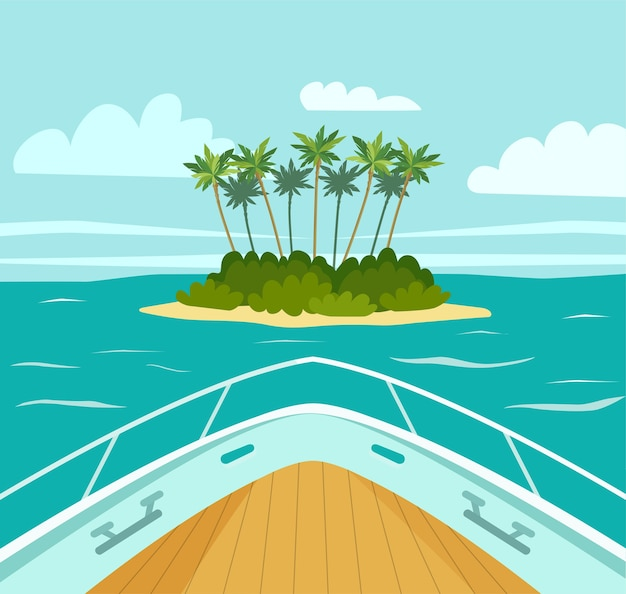 The boat approaches a tropical island in the sea