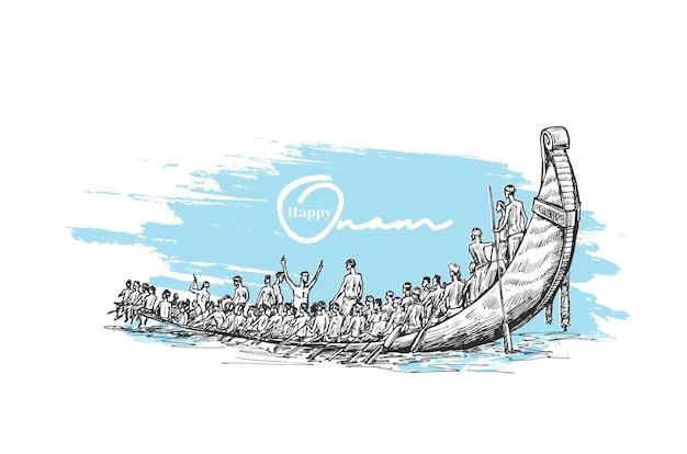 남인도 축제 오남, 손으로 그린 스케치 벡터 삽화를 위한 장식 배경의 강에서 보트.