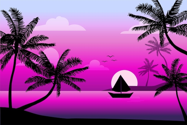 Boat and birds palm silhouette background