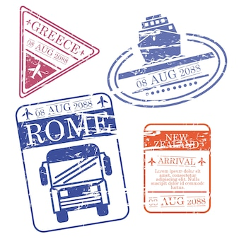 Boat and bus and airplane travel stamps