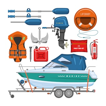 Boat equipment motorboat yacht with life-vest lifebuoy paddle anchor illustration