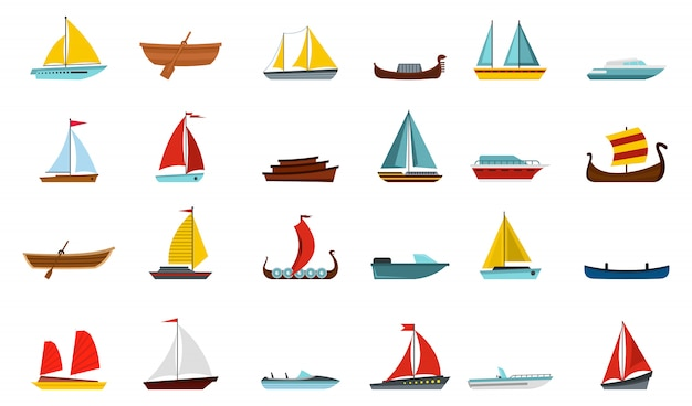 Лодка значок набор. плоский набор лодка векторных иконок коллекции изолированы