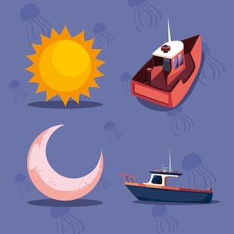 Набор иконок лодки
