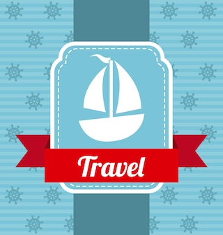 Boat icons with ribbon over blue background