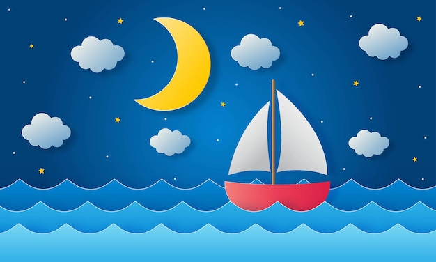 보트가 바다에서 항해 중입니다. 자정에 달, 별과 구름. 종이 예술