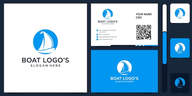 Boat logo with business card design vector premium