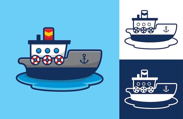Лодка на воде, плоский мультяшном стиле.