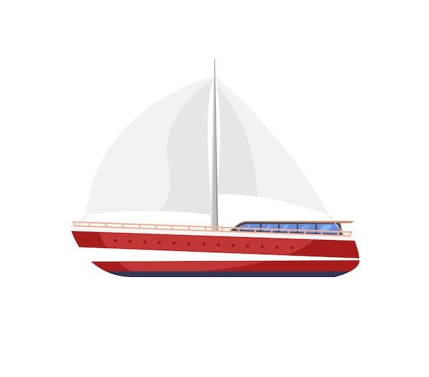 보트 또는 요트 고립 된 항해 아이콘입니다. 바다 또는 바다 여행을 위한 크루즈 벡터 플랫 요트.