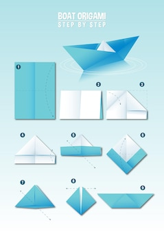 Boat origami instruction step by step