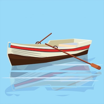 Boat, paddle, banner, vector illustration, cartoon style, isolated