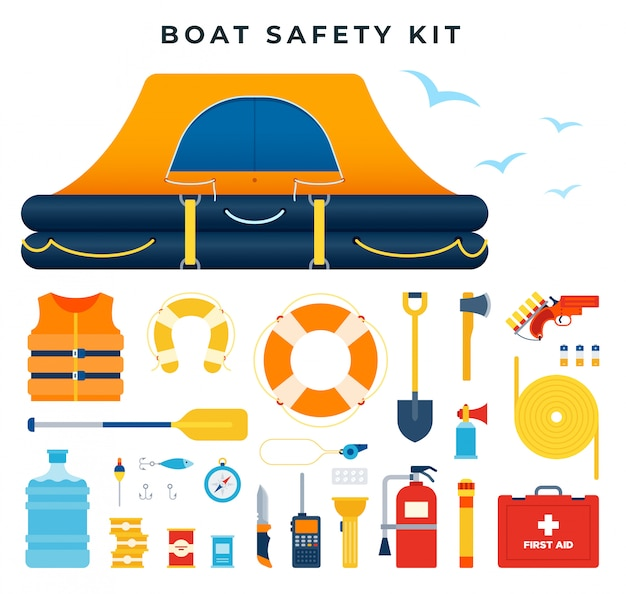 Boat safety kit, set of icons. water rescue. survival after a ship wreck. equipment and tools for saving life.