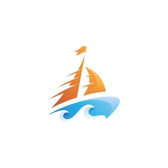 Boat sail and water wave sea logo