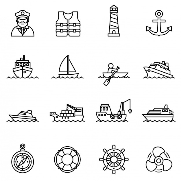 Boat and ship icon set with white background.