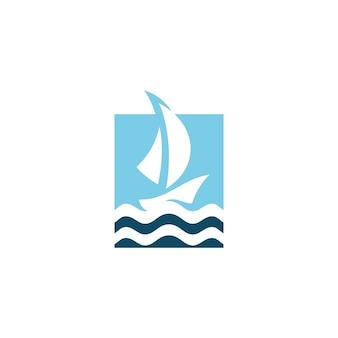 Boat ship sail sailing icon silhouette logo concept