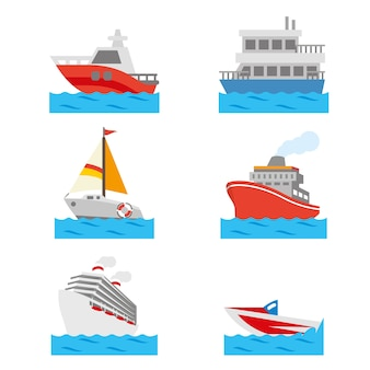 Boat and ship vehicle water transportation vector