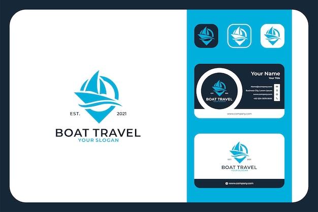 Путешествие на лодке с дизайном логотипа булавки и визитной карточкой Premium векторы