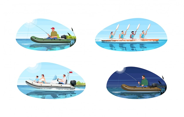 Boat types for activity semi flat   illustration set