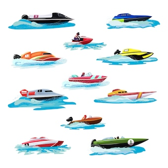 Boat vector speed motorboat yacht traveling in ocean illustration nautical set of summer vacation on motorized boat speedboat vessel transportation by sea waves isolated icon set