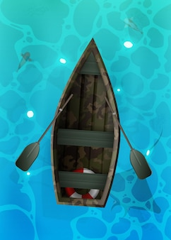 Boat with oars. turquoise surface of water in the ocean with fishes.