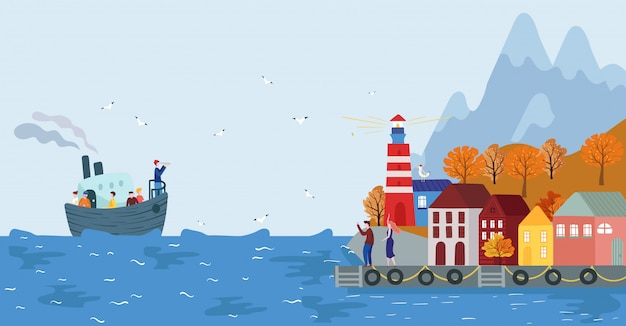 Boat with people arrive to scandinavian seaside town, illustration