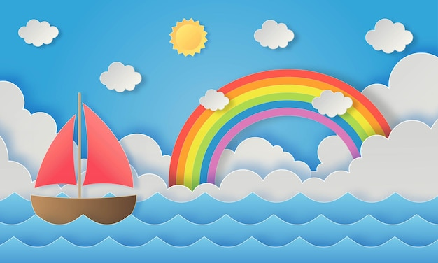 Лодка с радугой на фоне пляжного пейзажа