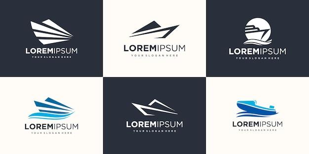 波の要素のロゴのアイコンが設定されているボート。ボートのロゴデザインテンプレートベクトル。