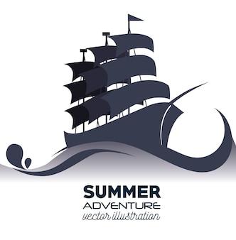 Boat wood marine icon