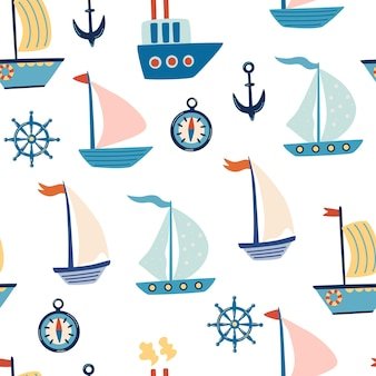 Boats seamless pattern. cartoon sailboats, anchor, and steering wheel. marine life. marine pattern for fabric, children's clothing, background, textiles, wrapping paper and other decorations. vector