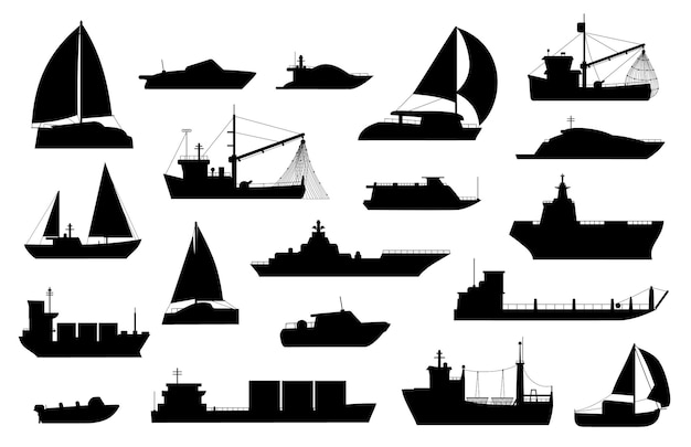 보트 실루엣입니다. 범선, 바지선, 낚시 및 유람선, 바다 요트, 여객 및 화물선 아이콘. 해상 운송 로고 벡터 세트입니다. 산업용 또는 상업용 보트 운송