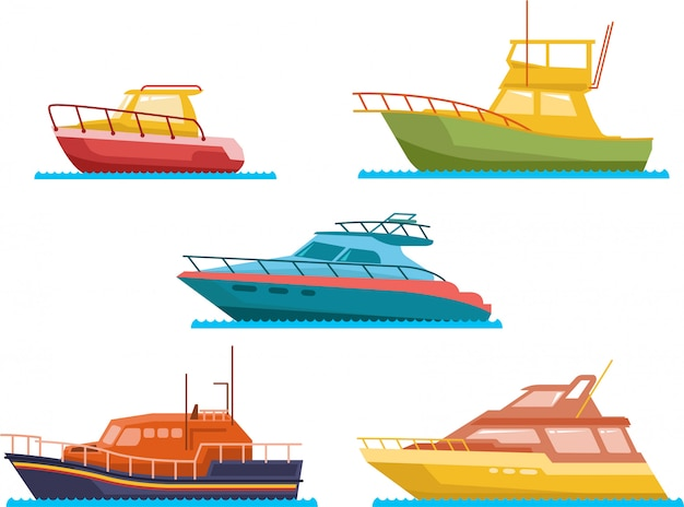 Boats and yacht flat vector set